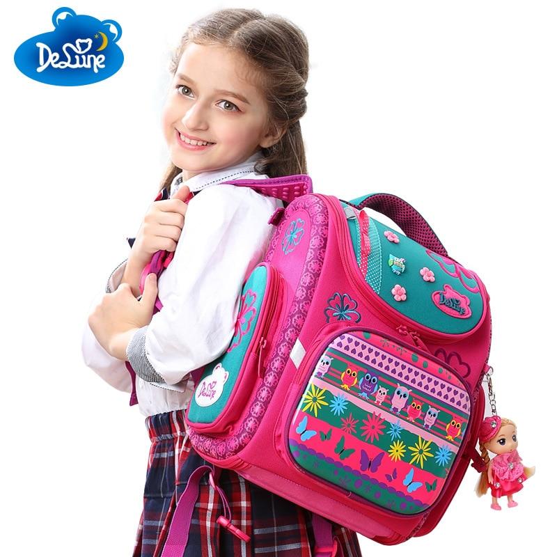 Delune Girls Boys School Bags Beautiful Cartoon Character Kids Animal Waterproof Orthopedic Backpack Schoolbag Mochila Infantil недорого