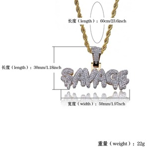 Image 5 - TOPGRILLZ Hip Hop Necklace Brass Gold Color Iced Out Chains Micro Pave Cubic Zircon SAVAGE Pendant Necklace Charm For Men Gifts