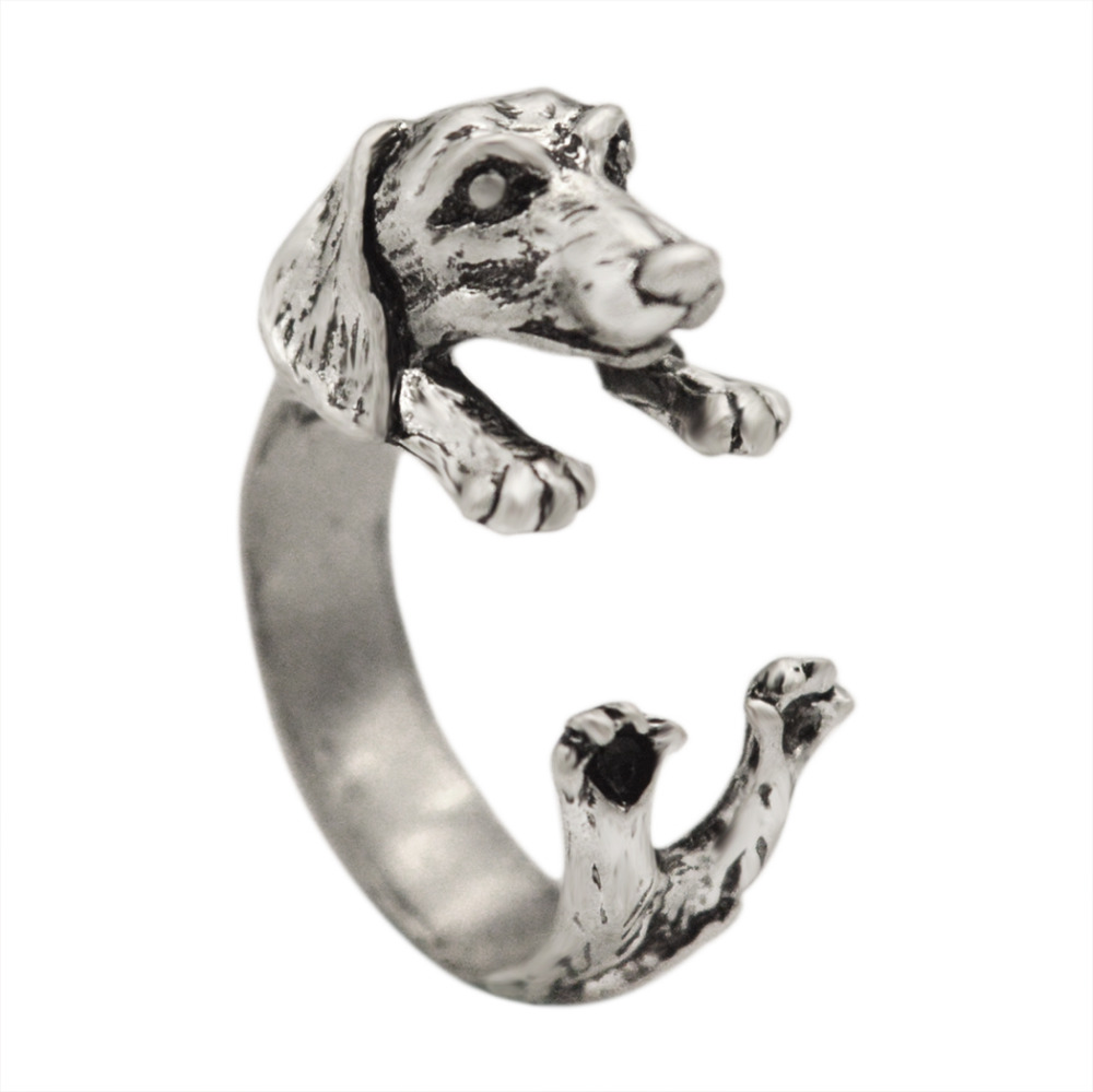 Kinitial 10pcs Dachshund Dog Puppy Animal Encircle Ring Handmade Sausage Dog Ring Adjustable Tiny Dog Rings for Women Bijoux