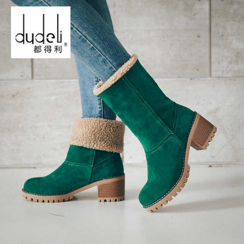 f70729b0651e DUDELI Big size Women Boots Female Winter Shoes Woman Fur Warm Snow Boots  Square High Heel