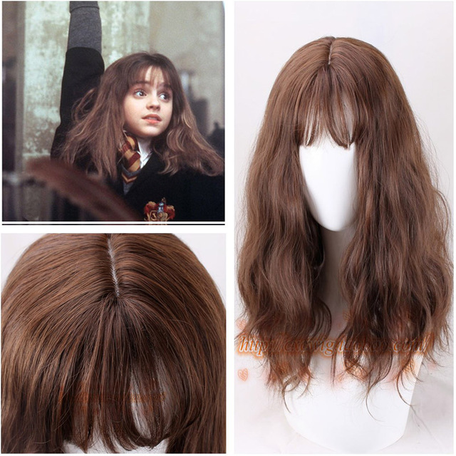Hermione Jean Granger Cosplay Wig Brown Curly Heat Resistant Synthetic Hair Cosplay Costume Wigs + Wig Cap