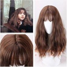 Hermione Jean Granger Cosplay peruk kahverengi kıvırcık isıya dayanıklı sentetik saç Cosplay kostüm peruk + peruk kap