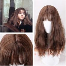 Hermione Jean Granger 코스프레 가발 브라운 컬리 내열성 합성 헤어 코스프레 의상 가발 + 가발 모자