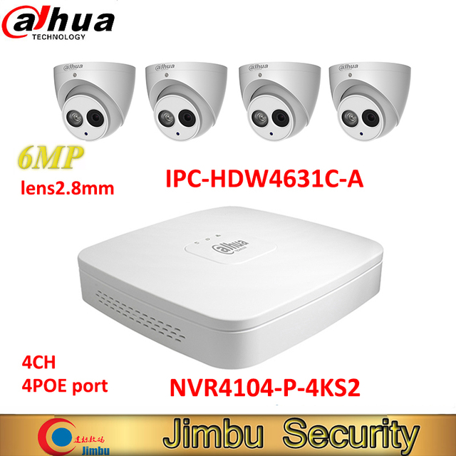 Dahua IP NVR kit 4CH 4K video recorder NVR4104 P 4KS2 & Dahua 6MP IP camera 4pcs IPC HDW4631C A H.265 cctv system support POE