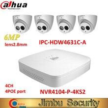 Dahua kit de grabadora de vídeo IP NVR, 4 canales, 4K, NVR4104 P 4KS2 y Dahua, cámara IP de 6MP, 4 Uds., IPC HDW4631C A, H.265, sistema de videovigilancia, soporte POE
