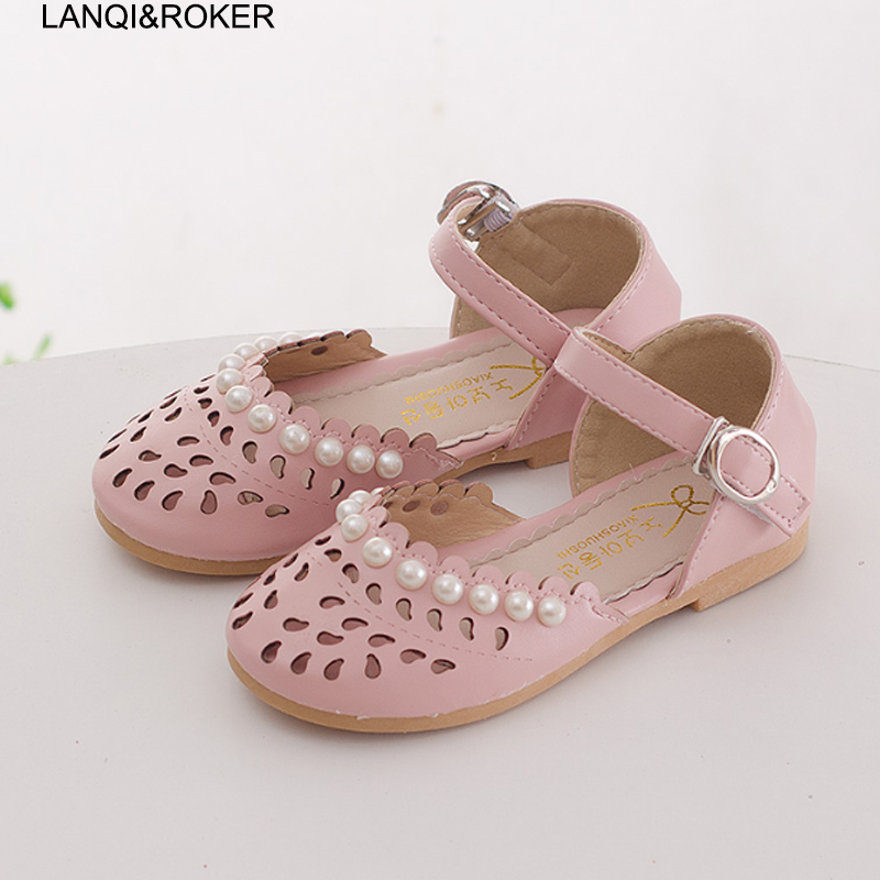 2017 Fashion Spring Children Shoes Summer Kids Cut out Sandals Child Girls Princess Beaded Shoes Sandals Size 23-35