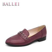 Retro Woman Adult Flats Quality Genuine Leather Classic Round Toe Low Heels Shoes Casual Wine Red Slip-on Lady Flats P19 2017 woman black gray genuine leather flats shoes casual retro round toe handmade slip on solid round toe chinese embroidered
