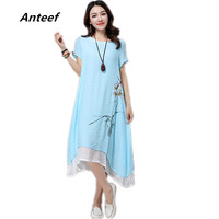 New Fashion Cotton Linen Vintage Print Plus Size Women Casual Summer Dress Vestidos Femininos Party 2017