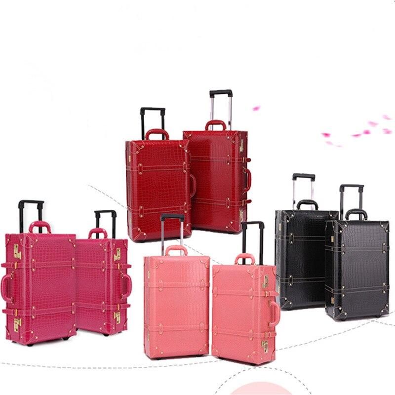 Retro tasche gepäck Set koffer frauen männer reisetaschen, leder die box PU trolley Kosmetische fall, neue stil, schloss, stumm, 13 22 24