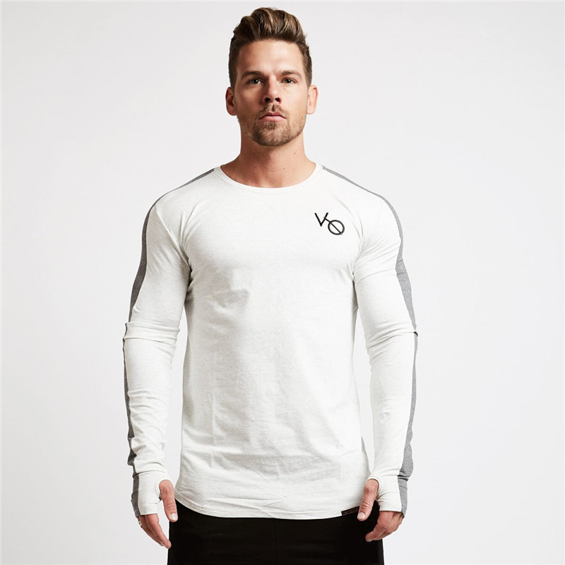 men long sleeved t shirt gyms Fitness-4