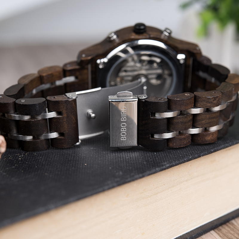 BOBO BIRD hommes montre montres mécaniques affichage de la Date montres de luxe en bois noir relogio masculino-boîtes de montre en bois C-Q27 - 4