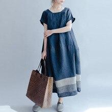 Midi-Dress Short-Sleeve Linen Zanzea Women Stripe Cotton Square Collar Splice-Work Vestido