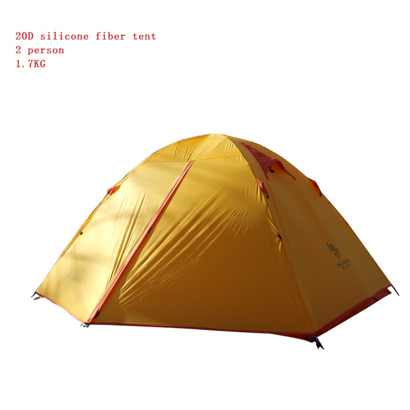 ФОТО Ultra light 20D Silicone Fabric tent 2 Person Tent Double-layer Camping Tent Lightweight outdoor tent Only 1.7kg