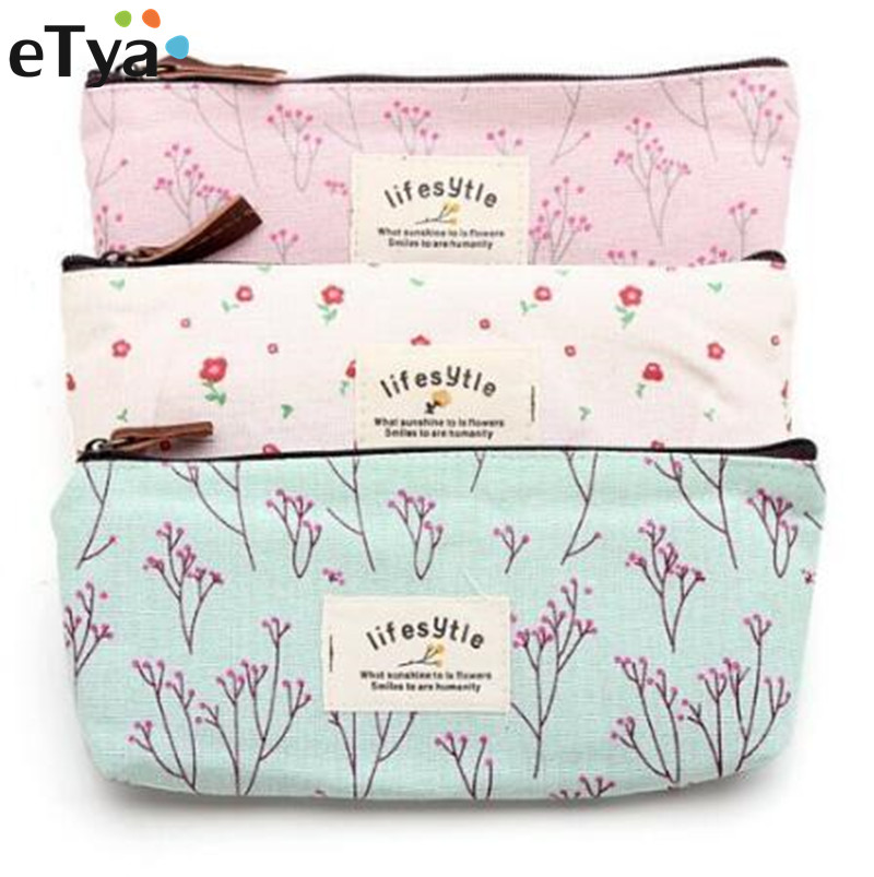 Fashion Women Cosmetic Bags Fresh Cute Canvas Multifunction Floral Makeup Organizer Bag Lady Toiletry Travel Bags цена