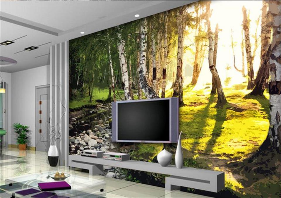 3d wallpaper custom photo non woven mural white birch wood - Wood effect wallpaper living room ...