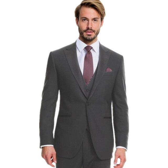 1a27a445ac06 Grigio scuro abiti da uomo degli uomini di lana abiti da sposa smoking su  misura sposo