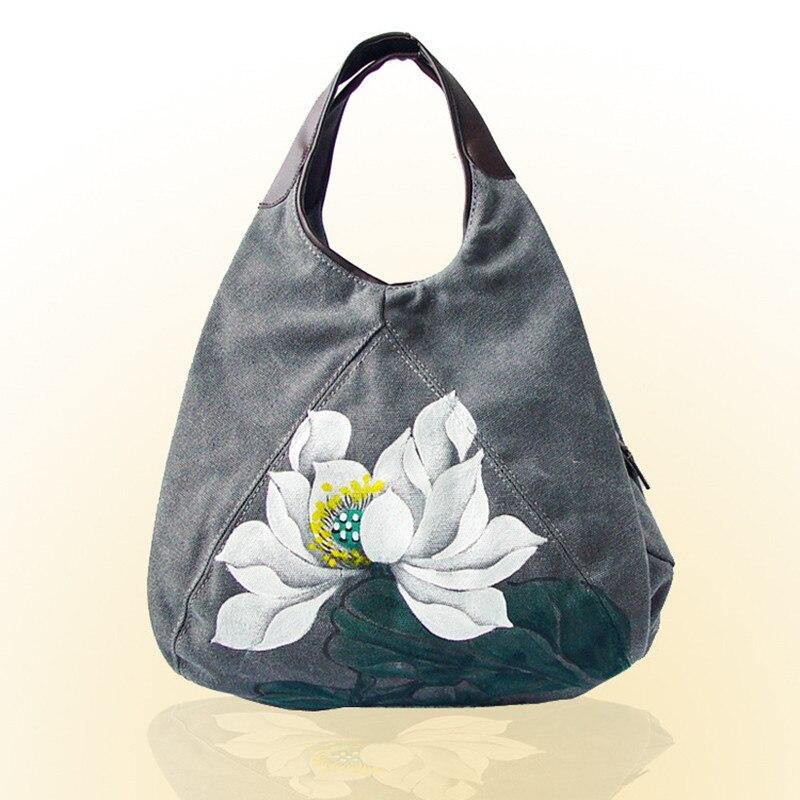 Dessins à la main Style chinois Lotus dame sacs à main femmes sacs toile Shopper sacs à bandoulière décontracté fourre-tout sac à provisions