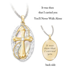 2019 Creative Footprints Frosted Cross Necklace Letter It was then that i carried you Pendant Ladies Gifts Dropshipping