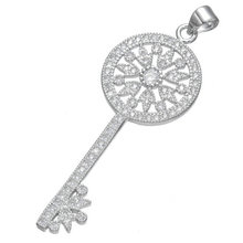 Gold/Silver Color Necklace 2016 Fashion Chain Zircon Key Shape Pendant Rhodium Plated Indian Jewelry Necklace