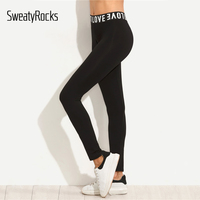 DIDK Black Waist Slogan Print Stretchy Skinny Leggings Women S Casual High Waist Leggings 2017 Autumn
