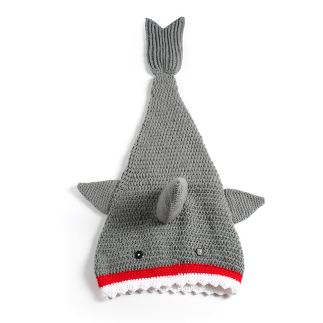 Whole Handmade Knitted 100 Days Newborn Baby Crochet Yarn Animal Fish Design All Match Grey Color Photo Props Sleeping Bags