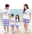 Новое семейство одежда мать отец дочь набор хлопок футболка + брюки две пьесы набор семья посмотрите для летних поездок наряд AF1614