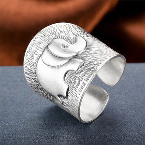 Image 2 - V.YA Solid 990 Sterling Silver Elephant Rings for Women Men Retro Animal Open Ring Womens Fashion Jewelry High Quality