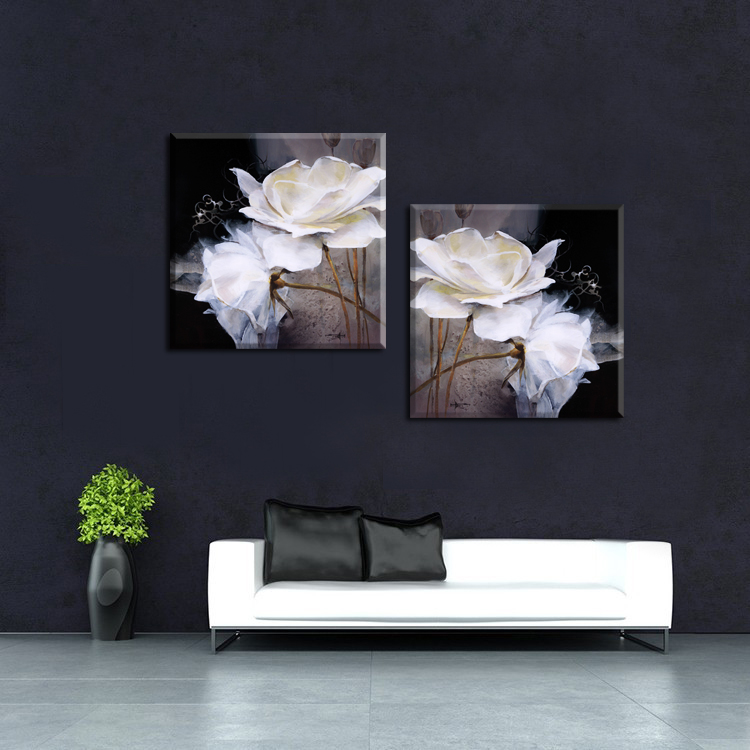 Wall Paintings For Living Room Wall 50x50cm Modern Wall Painting White  Flowers Home Decorative Living