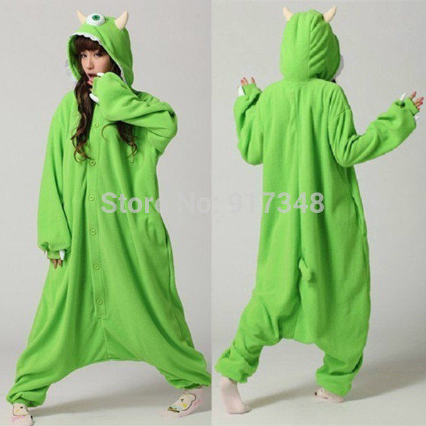 Monster University Mike Wazowski Cosplay Kigurumi Onesie Kostym Fleece Jumpsuit