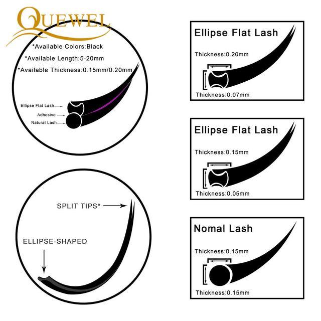 Quewel Flat Lashes Extension For Professionals Ellipse Flat Lash Split Tip profession Soft Silk Quewel Flat Eyelash C/D Curl 4