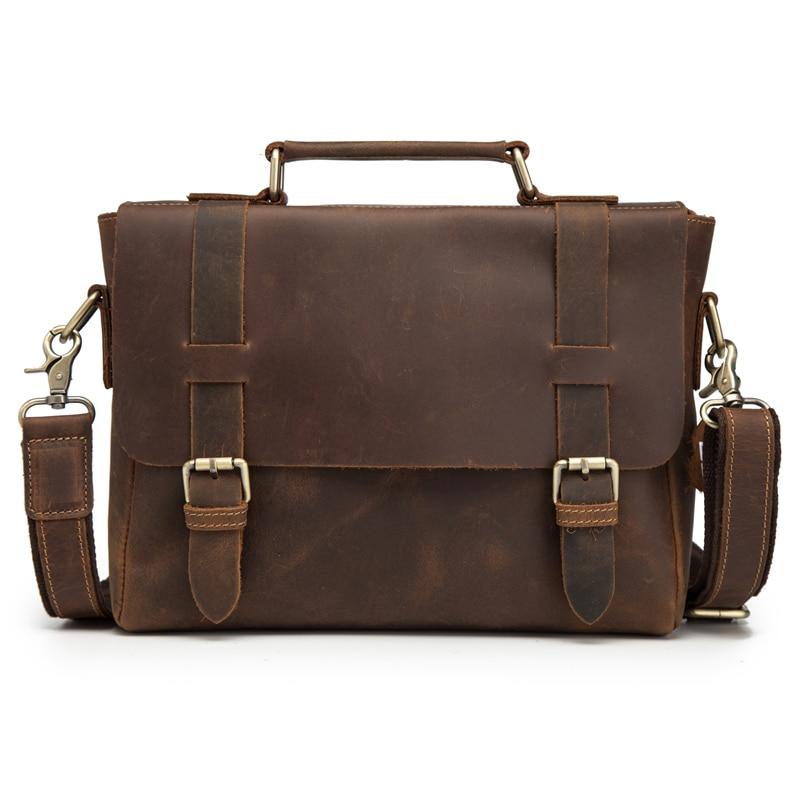 Bagaj ve Çantalar'ten Evrak Çantaları'de Adam Evrak Çantası Hakiki Çılgın At Deri askılı çanta Omuz Crossbody Retro Erkek Çanta Iş seyahat hediyesi Blosa Mochil'da  Grup 1