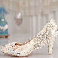 Comfortable Rhinestones Women Wedding Shoes Bridal Shoes Pointed Toes Phoenix Pearl Party Shoes Ivory Pumps Plus