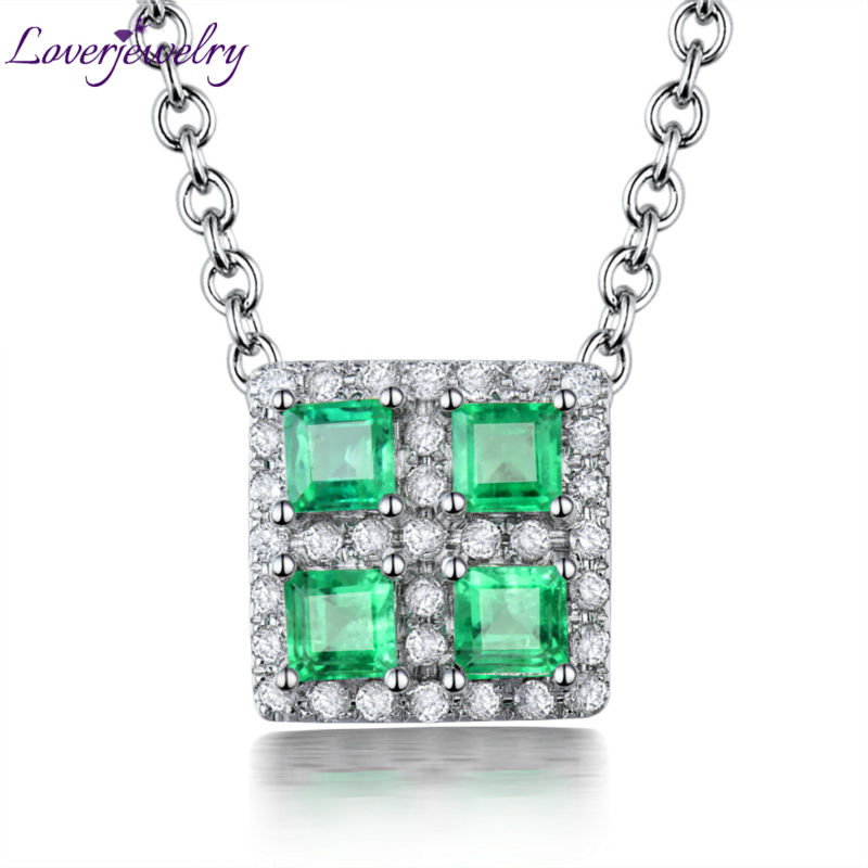 New Natural Emerald Pendant Diamond Engagement Jewelry 18Kt Gold Fine Jewelry For Women WP090 цена
