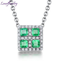 New Natural Emerald Pendant Diamond Engagement Jewelry 18Kt Gold Fine Jewelry For Women WP090