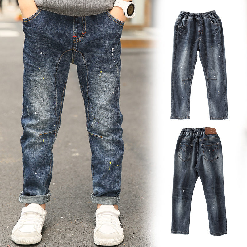 Children Jeans For Boys Clothing Spring Autumn Boy Denim Pants School Kids Clothes Teenage Boys Trousers 5 7 9 11 13 Years Old spring autumn new cool jeans boys children baby old pants denim pants tide 2 7 ages free shipping loose straight casual solid
