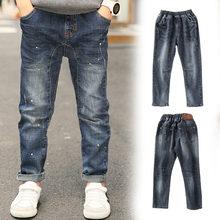 лучшая цена Children Jeans For Boys Clothing Spring Autumn Boy Denim Pants School Kids Clothes Teenage Boys Trousers 5 7 9 11 13 Years Old