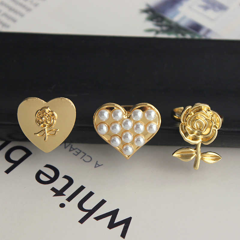 Timlee R042 New Lovely Sweet Heart Rose Flower Imitation Pearl Alloy Finger Rings,Temperamental Accessories Wholesale