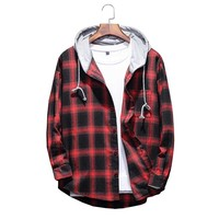 2019 Autumn Men's Slim Fit Men Long Sleeve Hooded Shirt Men Red Plaid Shirts Male Casual Men Shirt 4XL 5XL