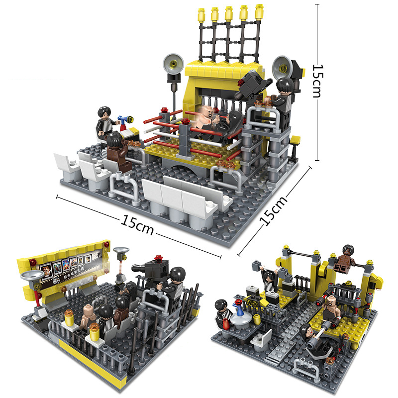 279pcs Wrestling Ring Blocks Boys DIY Birthday Gift 3 in 1 Enlighten Building Blocks Figures Bricks Toy for Children K0314-20702 890pcs city police station building bricks blocks emma mia figure enlighten toy for children girls boys gift