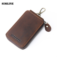 Vintage Casual 100 Genuine Crazy Horse Leather Natural Cowhide Men Men S Large Capacity Car Key