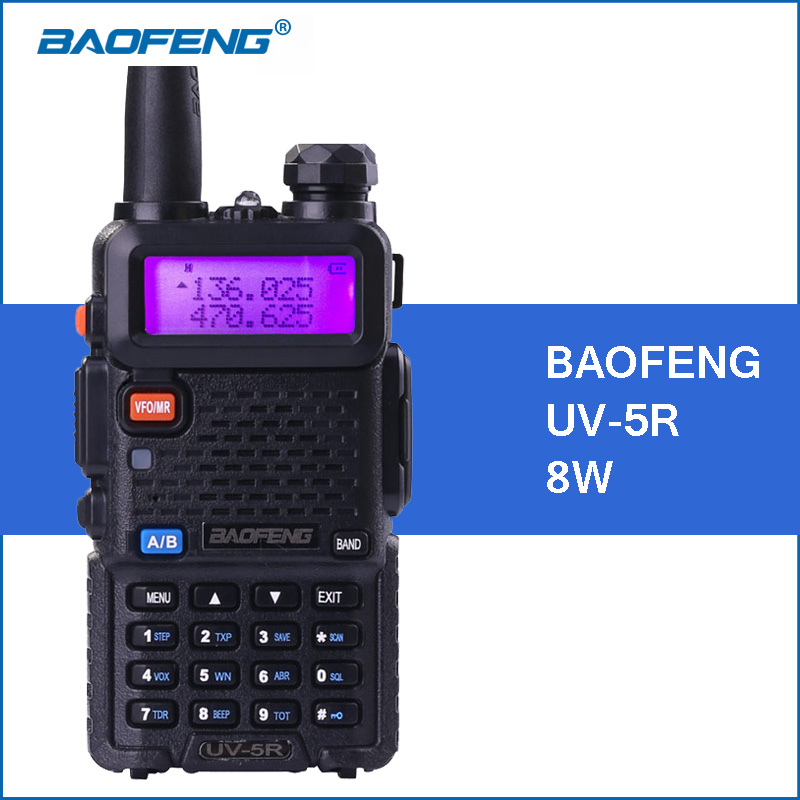 BAOFENG UV-5R Walkie Talkie 8 W UHF VHF Dual Band 1800 mah UV5R Draagbare Baofeng Walkie Talkie 5R Bidirectionele CB Ham Radio Communitor