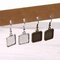 Onwear 20pcs fit 15 milímetros praça cabochão moldura brinco blanks antique bronze + prata brincos ganchos descobertas jóias diy