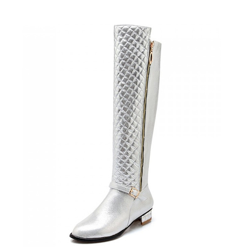 Popular Silver Knee High Boots-Buy Cheap Silver Knee High Boots ...