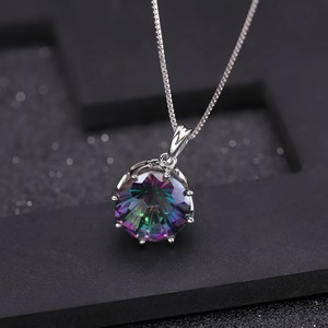 Image 2 - GEMS BALLET Classic 9.64Ct Natural Rainbow Mystic Quartz Gemstone Pendant Necklace For Women 925 Sterling Silver Fine Jewelry
