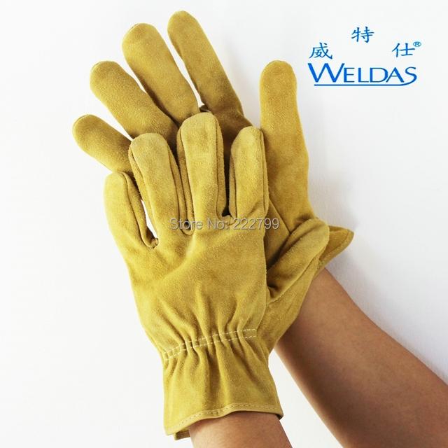 Reforço espessamento luvas de couro do trabalho 10-2064 couro desgaste-oposição protecção Do Trabalho luva de couro luvas de Soldadura