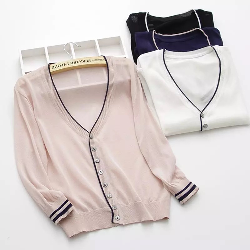 Sweater Cardigan 2018 Summer V-neck Thin Loose Cutout Cape Sweater Outerwear Female Knit Cardigan