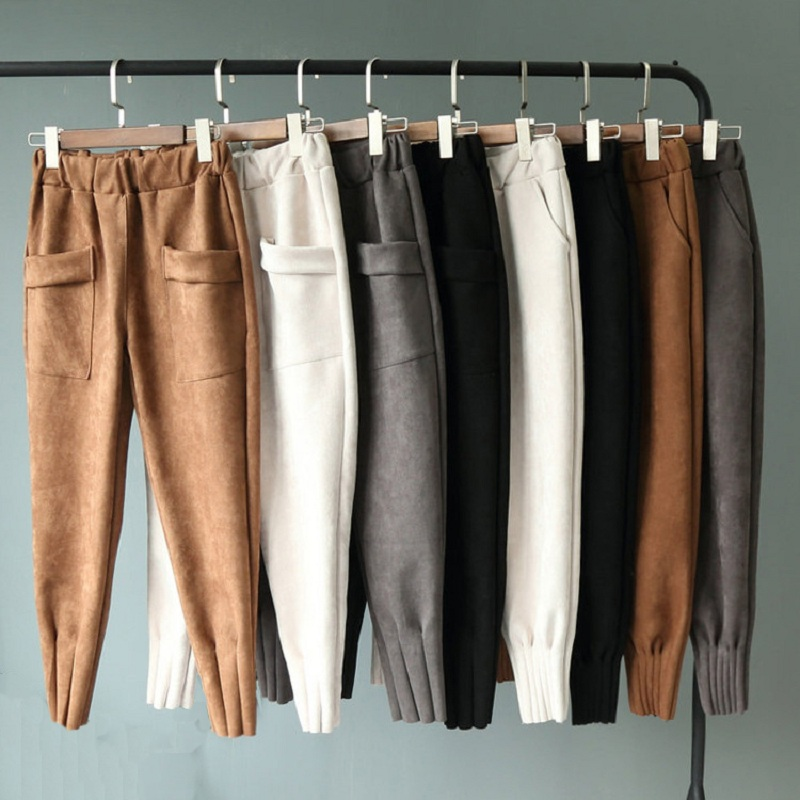 Elastic High-waisted woman bottoms winter autumn Pencil pants capris Women Suede big pocket carrot pants pants casual female