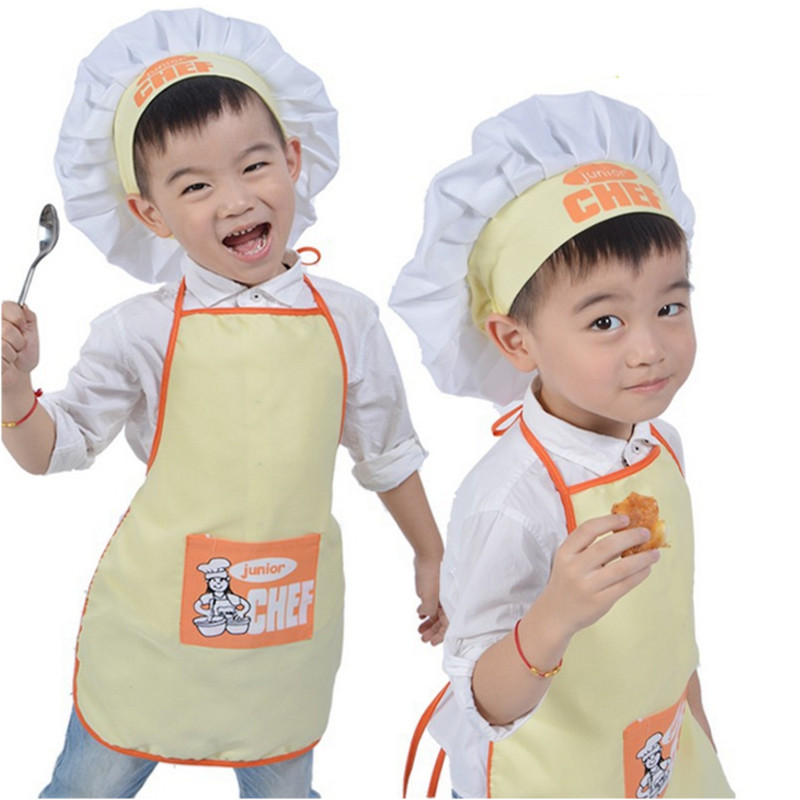1 set polyester kids apron and chef hat child cooking baby apron junior chef cook apron painting. Black Bedroom Furniture Sets. Home Design Ideas