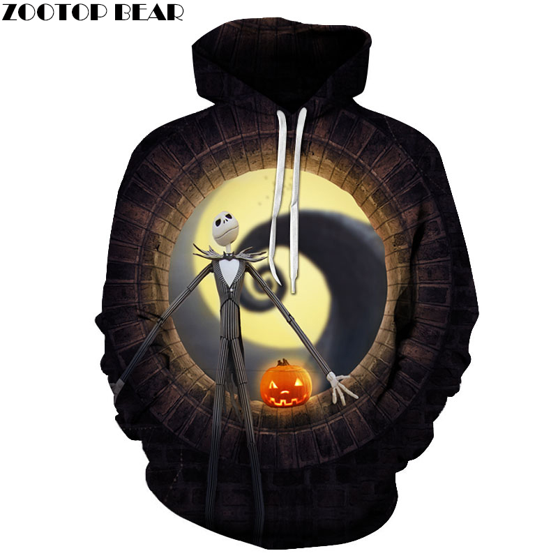 ZOOTOP BEAR Jack skellington fire pumpkin 3D Hoodies Sweatshirts Men Women Tracksuits Drop Shipping Hooded Pullover Brand Hoodie