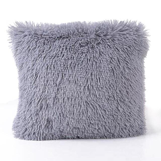 Soft Plush Square Cushion Cover Solid Waist Throw Pillow Case DIY